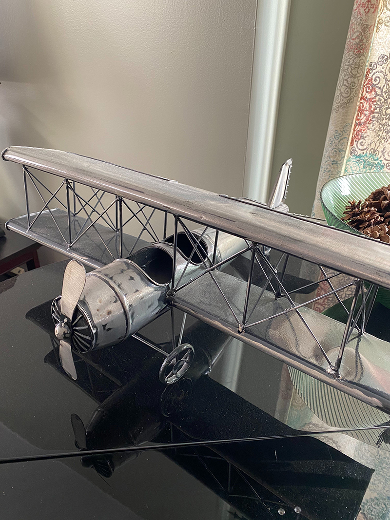 Metal airplane we found at the Phoenixville flea market.