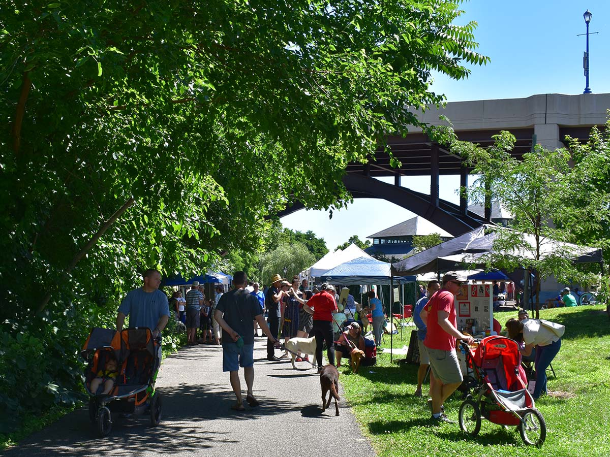 The Phoenixville Farmers Market, located underneath the Veterans Memorial Gay Street Bridge.