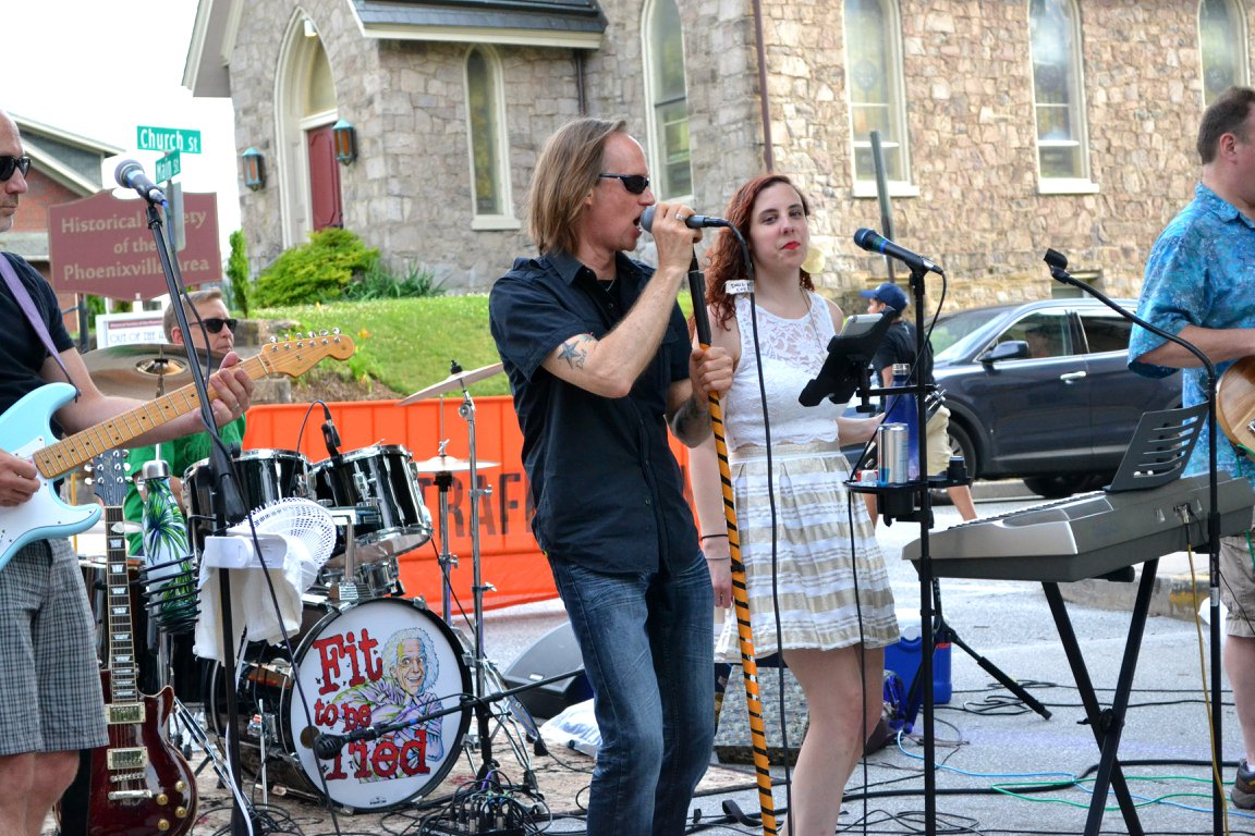 """Fit to be Tied"" entertained the crowds at a Phoenixville First Fridays in July."